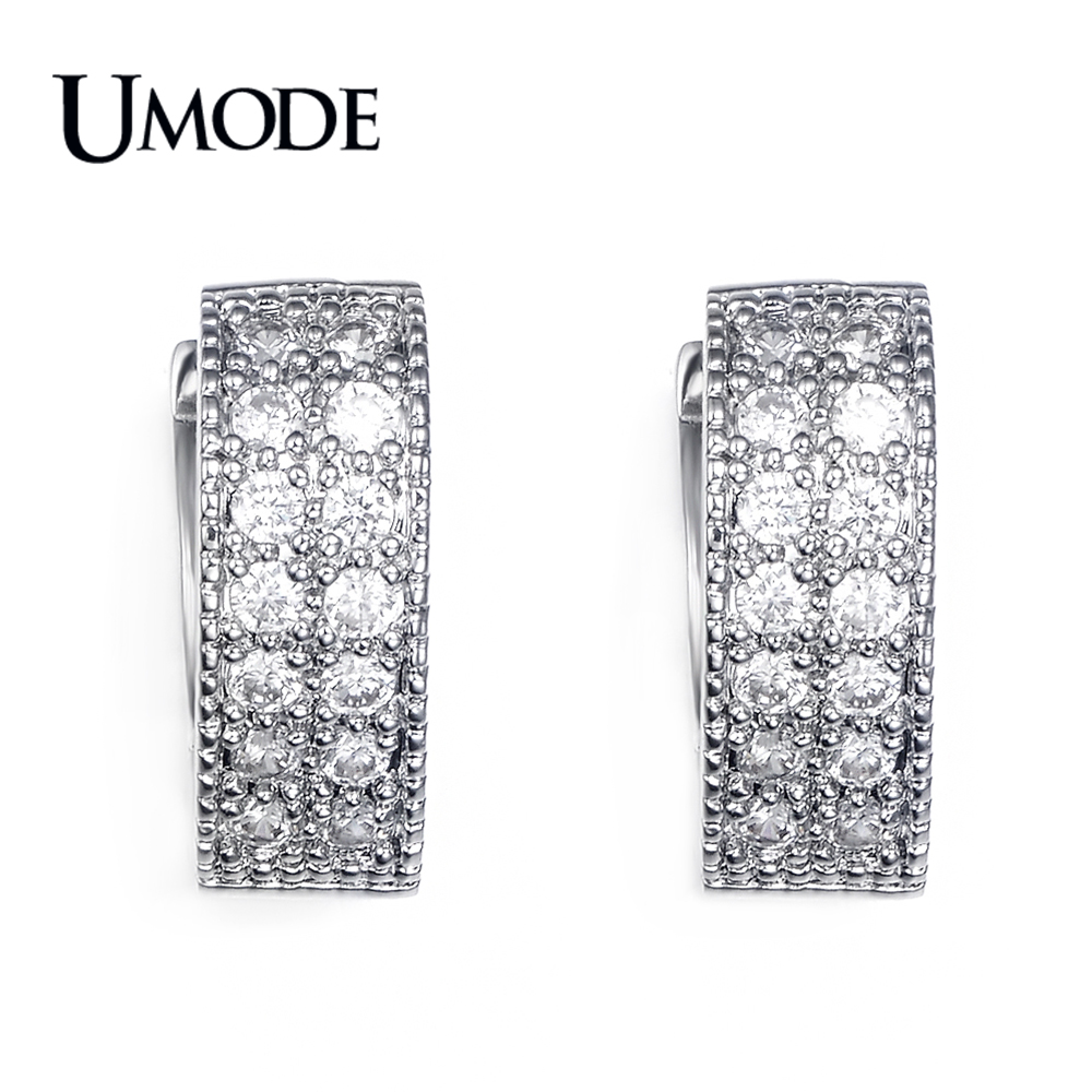 UMODE Brand Rhodium plated Summer Style Silver Jewelry With Pave Tiny CZ   Stone Heart Huggie Hoop Earrings AUE0015