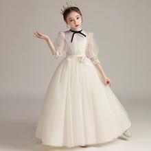 Beauty-Emily White Sweet Princess Flower Girl Dresses Elegant Long For Wedding Party Girl Ball Gowns Tulle Pageant Dress Elegant