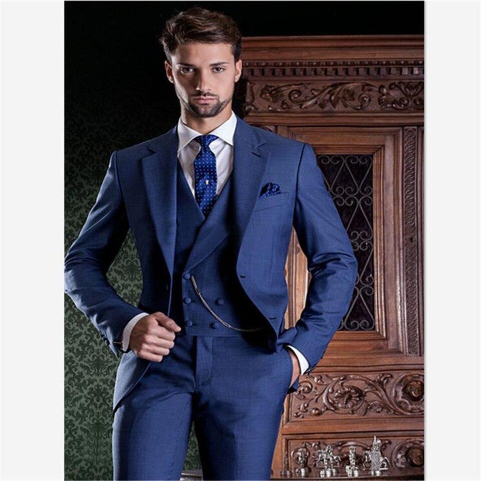 New Custom Design Men Suit Traje Hombre Groomsman Groom  Banquet Hall Mens Suits Costume Homme (jacket + Pants + Vest)