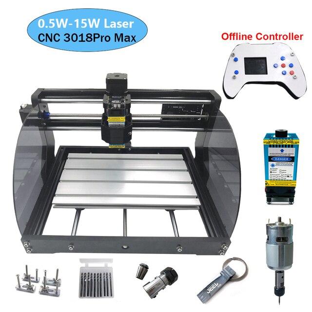 3018 프로 최대 레이저 조각 기계 전원 0.5W 15W 3 축 CNC 라우터 DIY 미니 목공 레이저 조각사 오프라인 컨트롤러