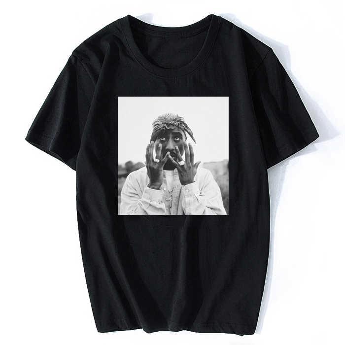 Camiseta branca tupac shakur, para homens, casual, de rua, moda masculina, hiphop, rap, estrela, manga curta, de algodão camiseta