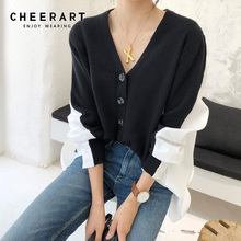 Cheerart Korean Cardigan Sweater Women Knitted Patchwork V Neck Oversized Loose Femme Clothing