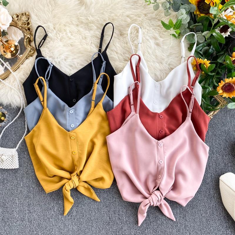 2020 Summer Women's Bowtie Vest Tank Crop Tops Buttons Sweet Short Camisole Longerie Girls Spaghetti Chiffon Soft Femme Veste 2