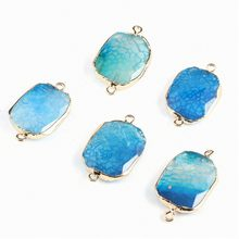 2019 New Natural Stone Connectors Pendants Irregular Dragon agate DIY Necklace Charms for Jewelry Making Necklace(China)