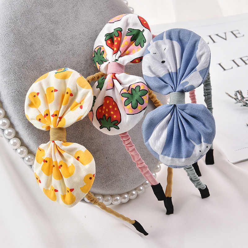 New Fashion Cute Buah Ikat Kepala untuk Anak Perempuan Anak Kartun Hewan Rambut Band Anak Rambut Hoop Kapas Busur Sorban Accesorios Pelo