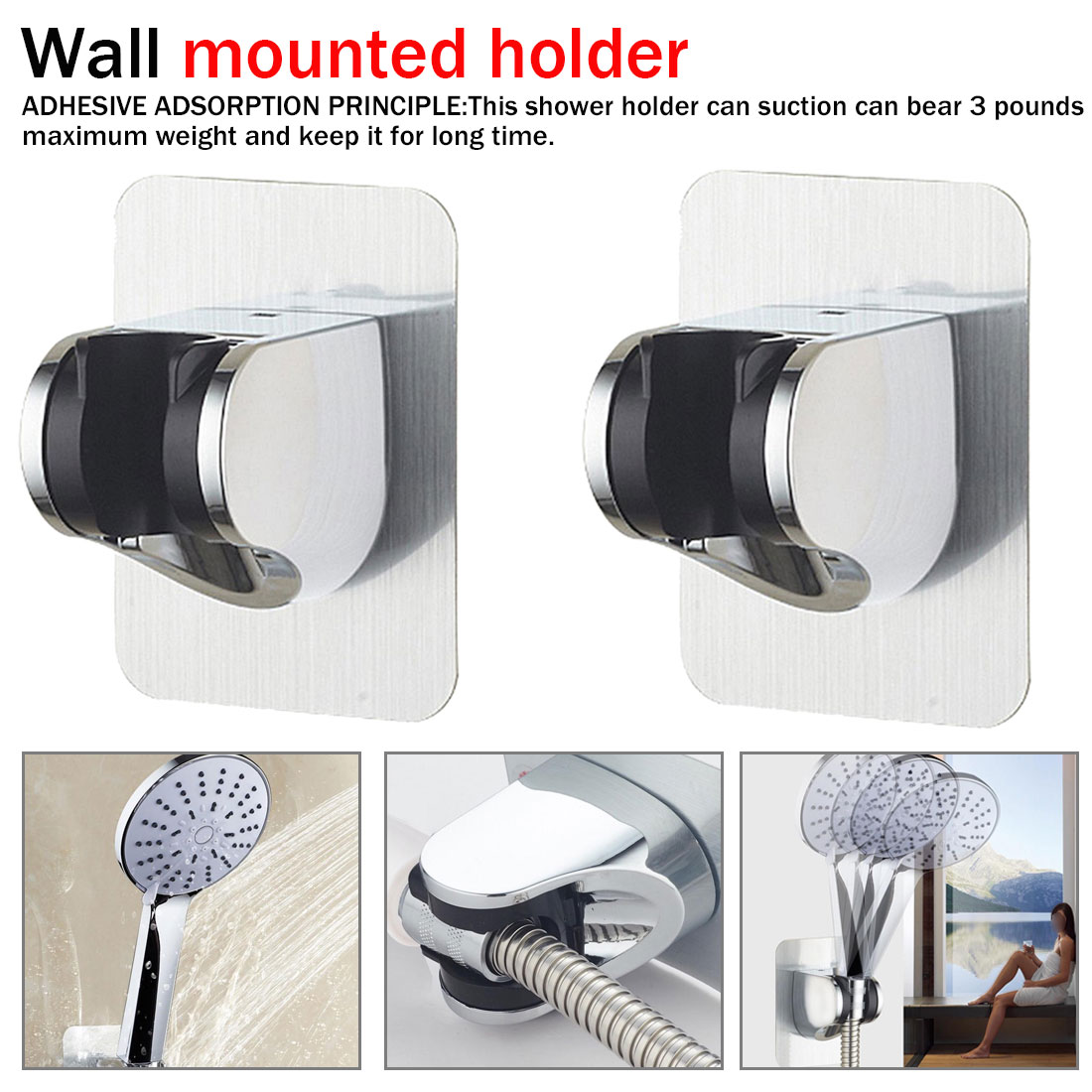 Wall Mounted Bathroom Shower Bracket Adjustable Self-adhesive Suction Cup Chrome Polished Shower Head Holder