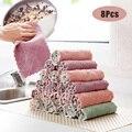 8 шт. салфетка из микрофибры для кухонной посуды  впитывающее полотенце  антипригарное масло  тряпка для мытья посуды  инструменты для очист...