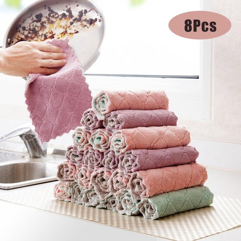 8 Stuks Microfiber Keuken Handdoek Absorberende Vaatdoek Non-stick Olie Wassen Keuken Vod Huishoudelijke Servies Schoonmaken Vegen Gereedschap