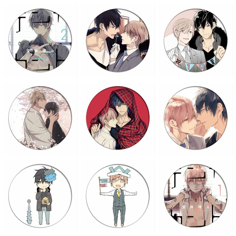 10 TEN COUNT Cosplay Badges Tadaomi Shirotani Brooch Icon Collection Bags Yaoi Rihito Takarai  Breastpin For Backpacks Clothing