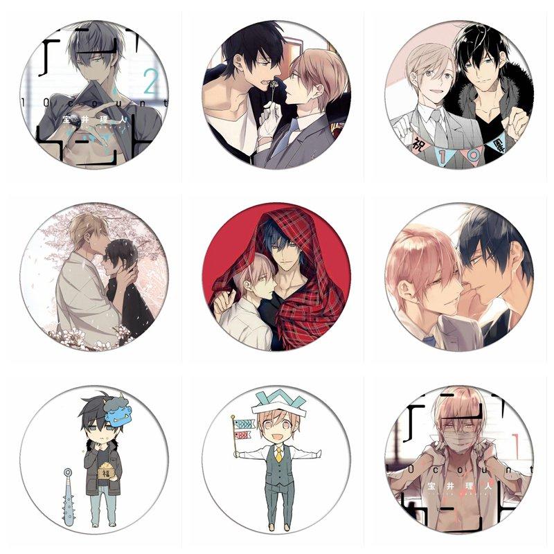 10 TEN COUNT Cosplay Badges Tadaomi Shirotani Brooch Icon Collection Bags Yaoi Rihito Takarai  Breastpin For Backpacks Clothing