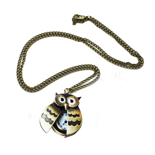 New Flappy Wings Owl Locket Watch Necklace