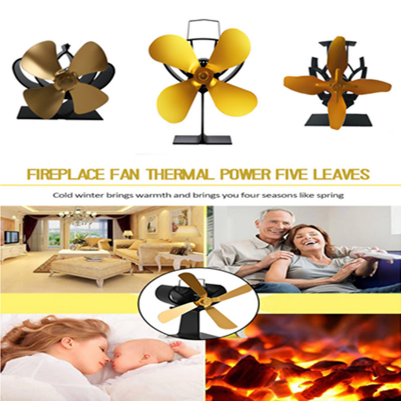 Gold 4 Blades Fireplace Heat Powered Fan Thermal Power Stove Fan Wood Log Burner Quiet Fan Efficient Heat Distribution For Home