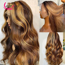 30 Inches Highlight Honey Blonde HD Transparent Lace Frontal Human Hair Wigs Body Wave Wigs for Woman Full Lace Pre Plucked 13x6