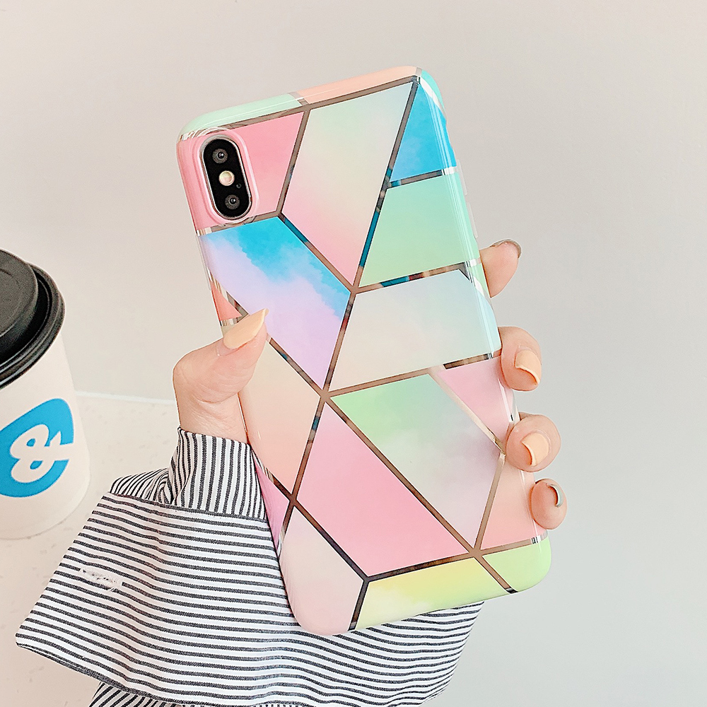 LOVECOM Geometric Marble Phone Cases For iPhone 11 Pro Max XR XS Max 6 6S 7 8 Plus X Soft IMD Electroplated Back Cover Coque 5