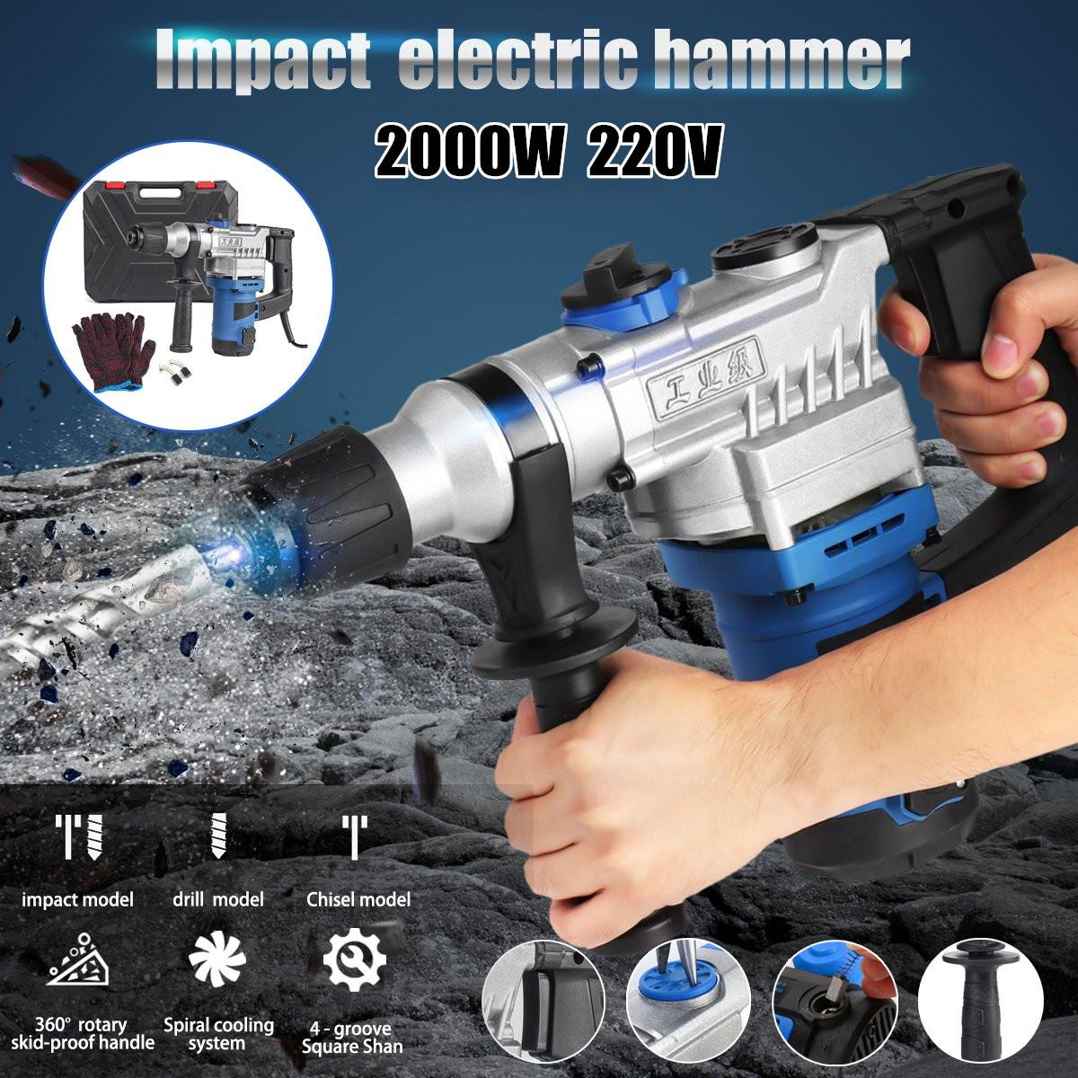 Tools : 2000W Heavy Cordless Rotary Impact Hammer Electric Hammer Drill Screwdriver Concrete Breaker 220V with Portable Tool Storage Box