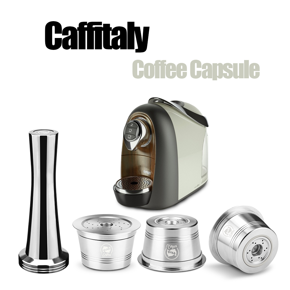 Caffitaly 컴팩트 커피 필터 용 재사용 가능한 커피 캡슐 리필 형 스테인레스 스틸 포드 호환 가능 Cafissimo & K-Fee Mahcine