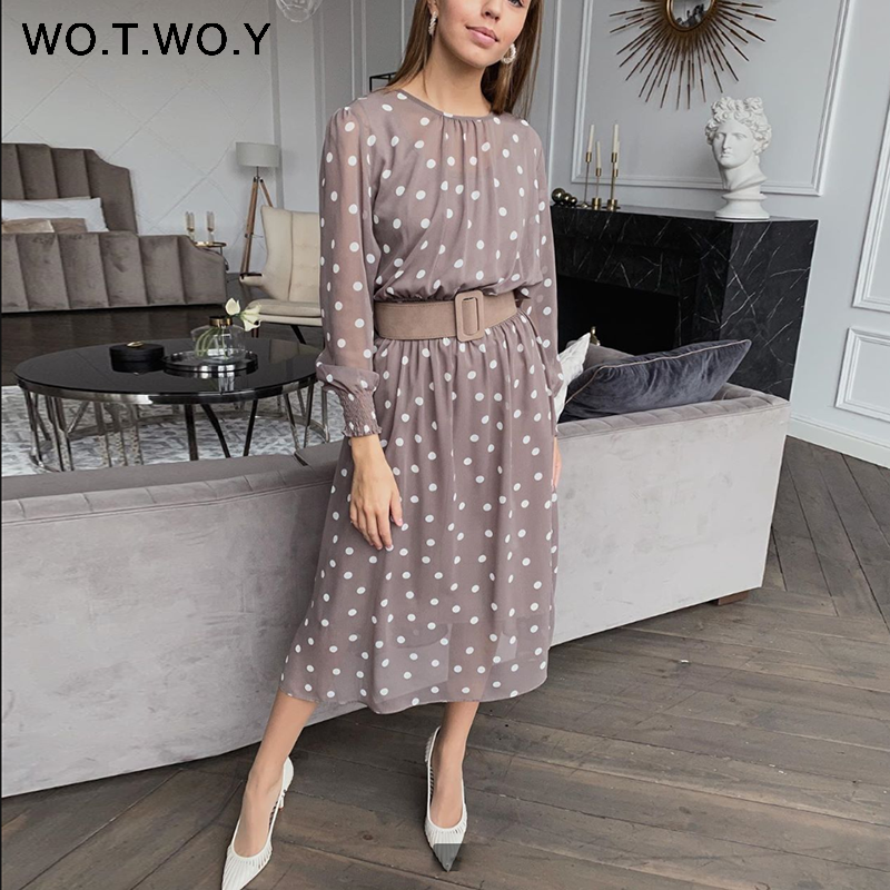 WOTWOY Transparent Polka Dot Two Piece Dress Women Summer Elastic Waist Long Sleeve Dresses Women A-Line Elegant Dress Female