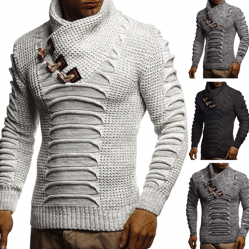ZOGAA Men's Sweater Knitted Shawl Turtleneck Sweater Pullover Winter Long Sleeve Hip Hop Streetwear Pullover Slim Man's Sweater