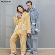 Зимний пижамный комплект для женщин утолщенная флисовая Пижама