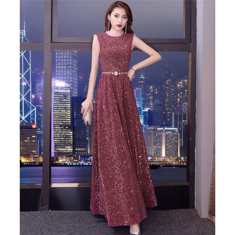 High-End Evening Gown Women's 2019 Spring New Style Banquet Nobility Elegant Sequin Online Celebrity Industrial Annual General M