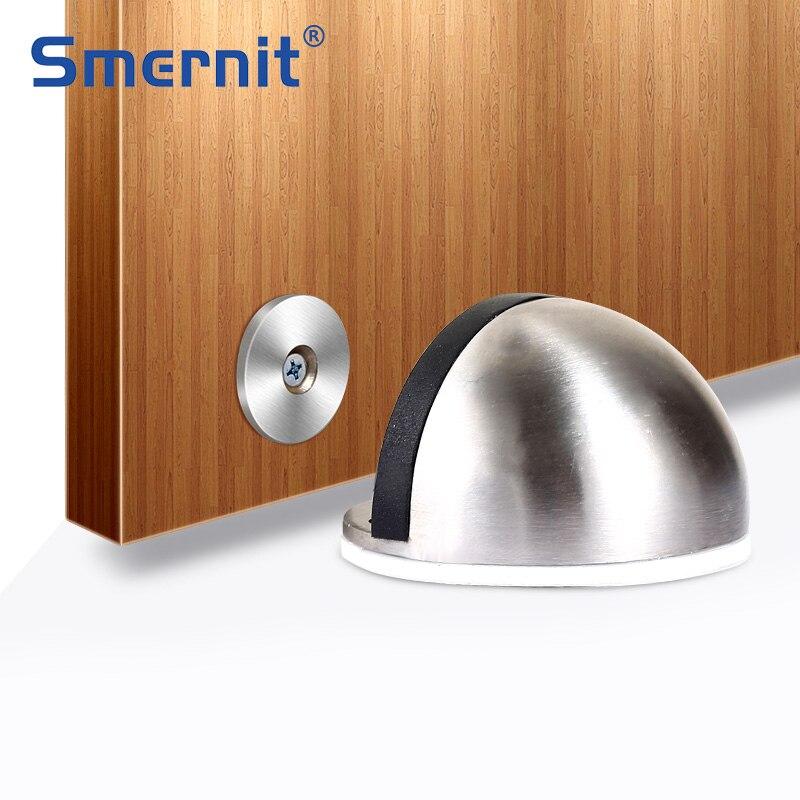 Stainless Steel Magnet Door Stops Rubber Door Stopper Anti-Collision Wood Toilet Door Holder Catch Doorstop Furniture Hardware