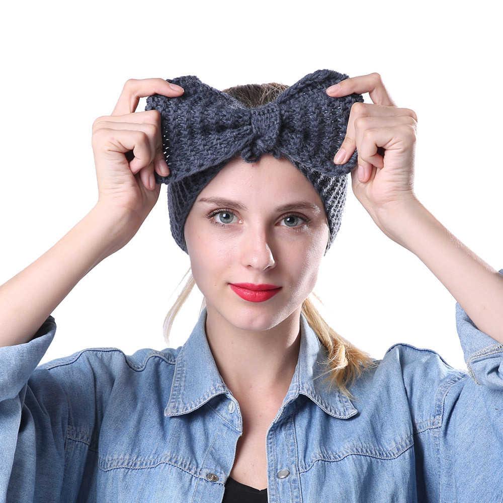 แฟชั่นผู้หญิงผมวงยืดหยุ่นกระต่ายโบว์สไตล์ฤดูหนาวอุ่นหูถัก Headband Turban HairBand อุปกรณ์เสริมผม 1111
