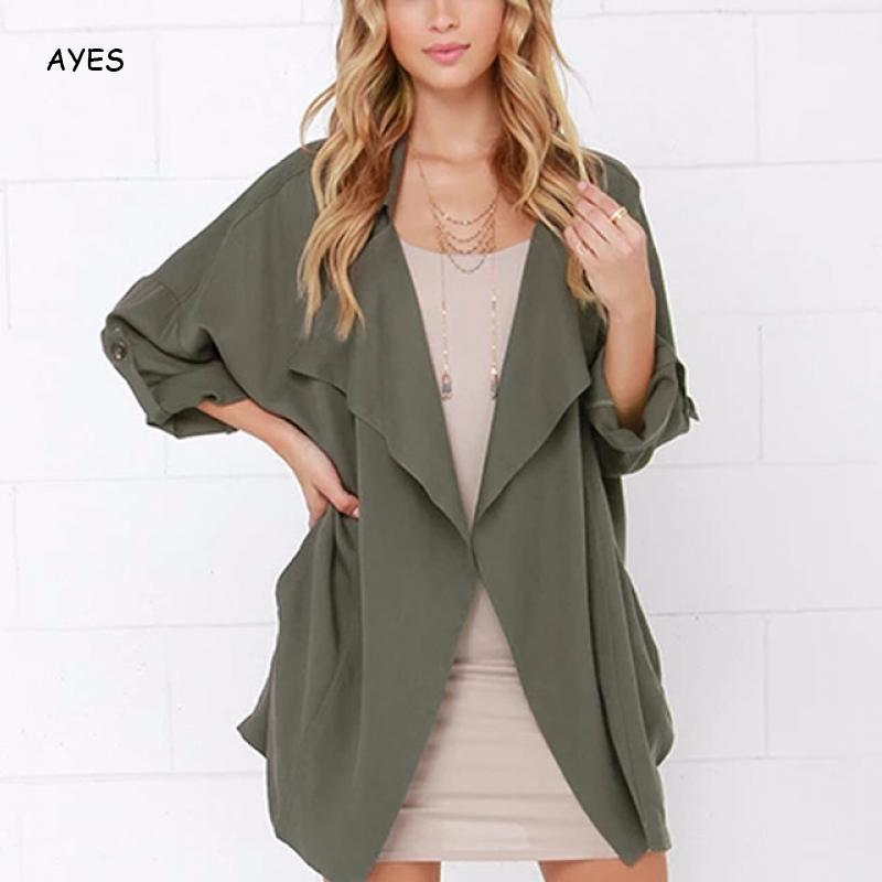 2019 Autumn   Jacket   Women Casual   Basic     Jacket   Solid Color Office Lady Elegant Outerwear Women Spring Fashion Streetwear Outcoat