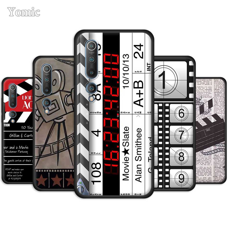 Film Clapperboard Clapper <font><b>Board</b></font> Case for Xiaomi Mi <font><b>Note</b></font> 10 9 SE 9T CC9 Pro 5G A3 A2 <font><b>8</b></font> Lite Poco X2 Black Silicone Phone Cover image