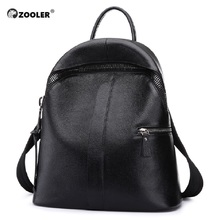 ZOOLER Genuine leather backpack women school Girls bags shoulder hand bag Zipper Kanken Leather Backpack D109
