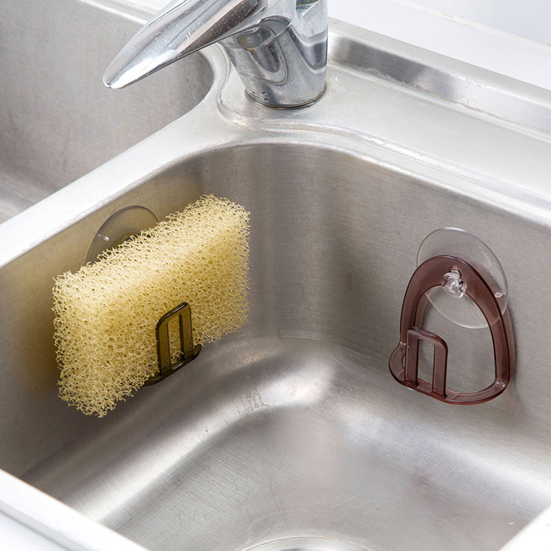 Practical Sink Sponge Holder Plastic Sink Drain Drying Rack Suction Cup Dish Clothes Holder For Scrubber Soap Storage Drain Rack
