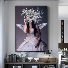 Modern Wall Art Abstract Portrait Posters and Prints Sexy Angel Girl with White Wing Feather and Red Rose Wall Pictures for Living Room Cuadros Home Decor No Frame(China)