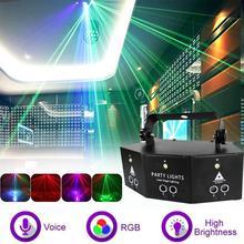 9-oko RGB Disco Dj lampa 4 + 64 wzorców przełącznik do woli DMX pilot zdalnego sterowania Strobe etapie Laser Led lampa projektorowa zaopatrzenie firm