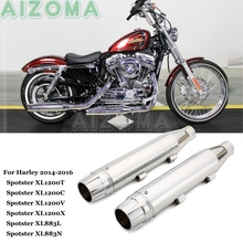 1 Pair Motorcycle 3-1/4 Slip On Exhaust Muffler Pipe For Harley Sportster Iron 883 SuperLow 1200 Forty-Eight Custom Seventy-Two tank cover panel pad bib bra w pouch for harley sportster forty eight 883 1200 forty eight iron 883 seventy two