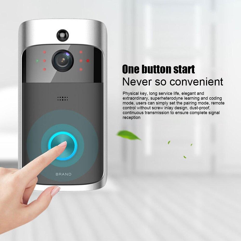 Sans fil WiFi vidéo sonnette téléphone intelligent porte anneau interphone maison sécurité caméra cloche PUO88
