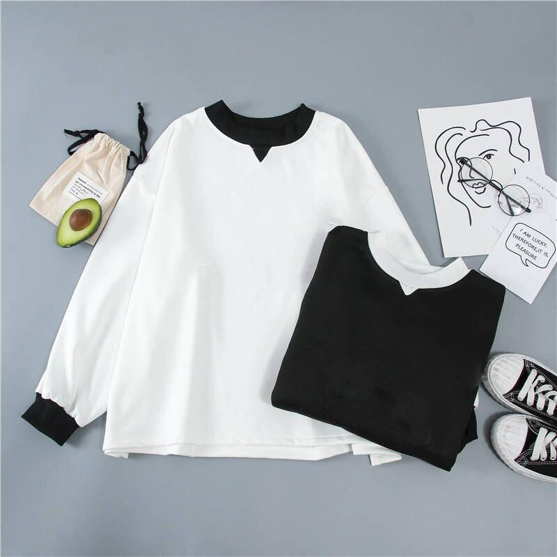 Solid Color Sweatshirt Hoodie Black White Color Matching Sweatshirt Hoodie Stitching Round Neck Long Sleeve White Sweatshirt