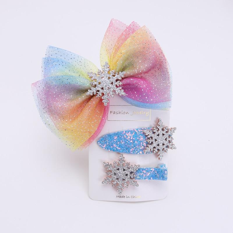 New Girls Hair Accessories Kids Headbands  Snowflake Elastic Hairbands Children Hair Clips Women Hair Scrunchies  Hair Tie