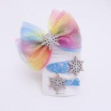 Новые девушки аксессуары для волос дети ободки Снежинка эластичный hairbands детей клипы женщин резинки для волос галстук