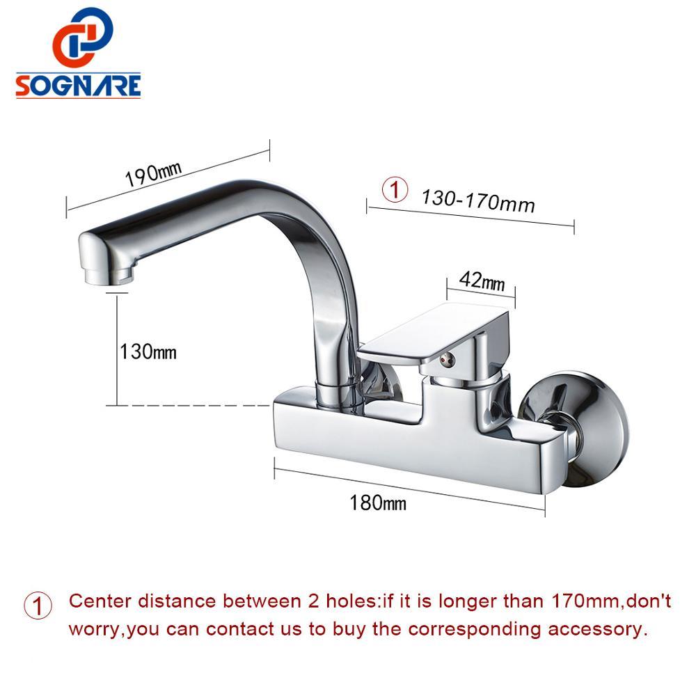 SOGNARE robinet de cuisine mural mitigeur de cuisine robinets double trous robinet d'eau chaude et froide Rotation 360 degrés D2203 - 6