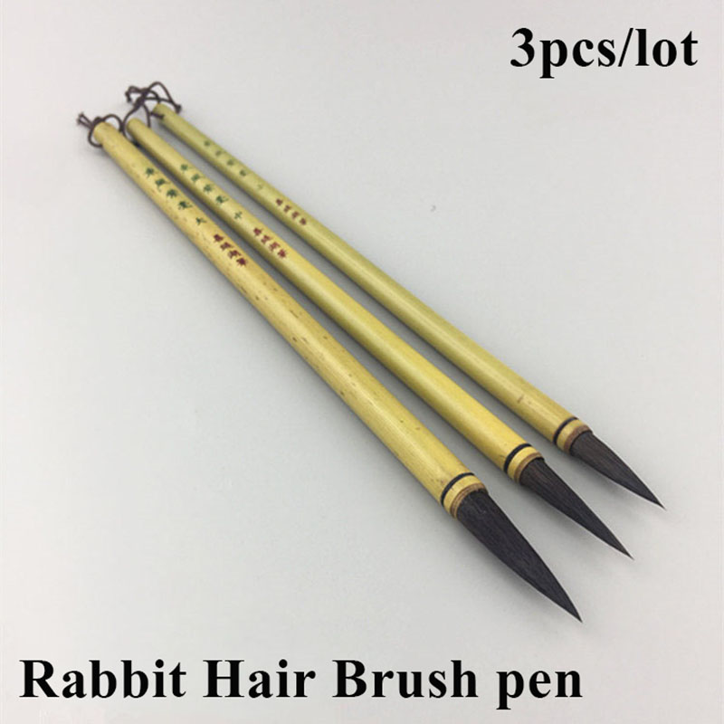 3pcs/set Chinese Calligraphy Brushes Pen Rabbit Hair Writing Brush Student School Chinese Calligrphy Suppplies