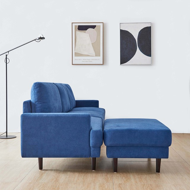 "[2021]Modern fabric sofa L shape, 3 seater with ottoman-104"" Blue 3"