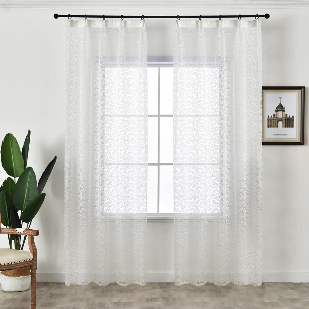 NAPEARL European style jacquard design home decoration modern curtain tulle fabrics organza sheer panel window treatment white