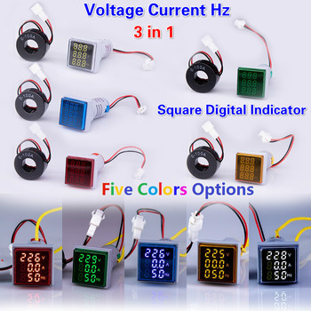 New 3in1 22mm Digital  Voltmeter Ammeter Hz 60-500V 0-100A 20-75Hz AC Current Frequency Meter Indicator Digital Voltage Amp Led multimeter ammeter voltmeter wattmeter ac 80 260v 0 100a lcd digital display current voltage power energy meter