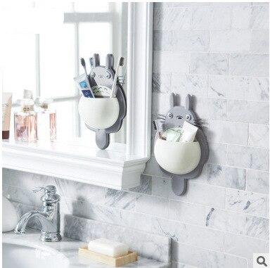 1pcs Cute Totoro Toothbrush Holder Bathroom Wall-mounted Toothbrush Holder Sucker Suction Organizer Home Bathroom Accessories