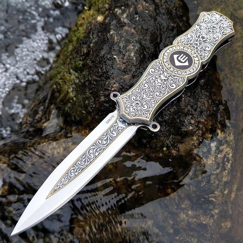 Multifunctional High Hardness Fingertip Gyro Folding Knife Mini Outdoor Self-defense Army Knife Creative Color Fruit Knife