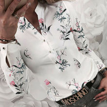 Women's blouses 2019 with floral print long sleeve v-neck blouse Women's shirts