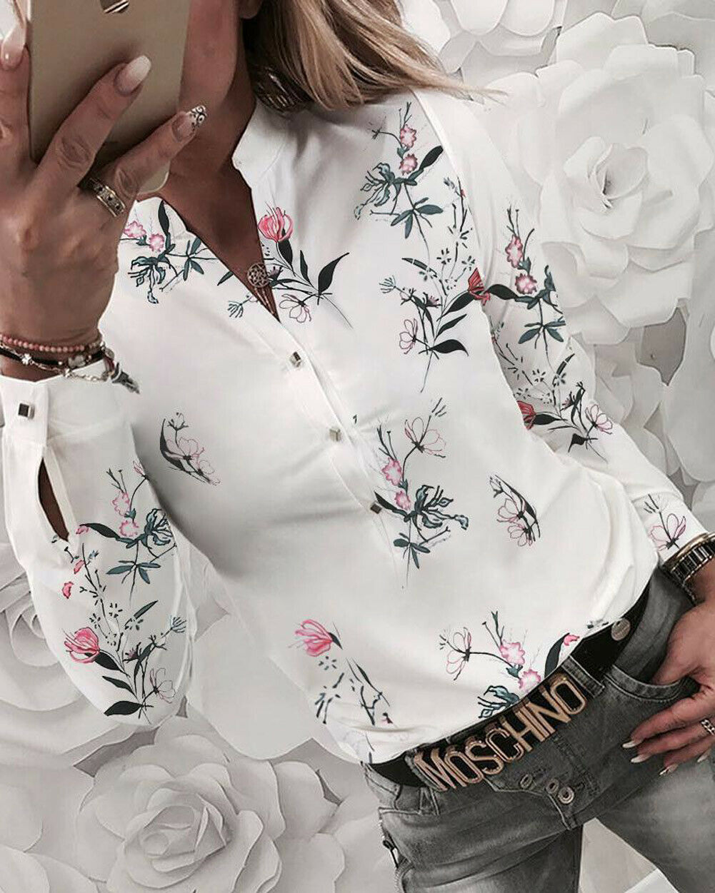 Women's Blouses 2019 With Floral Print Long Sleeve V-neck Blouse Women's Shirts Flower OL Plus Size Shirts For Women