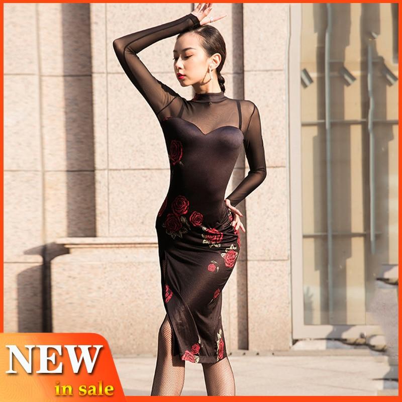 Sexy Latin Dance Dress Adult Competitive Dancing Dress Women Performance Costume Tango Wear Ballroom Autumn Long Dress BL2942