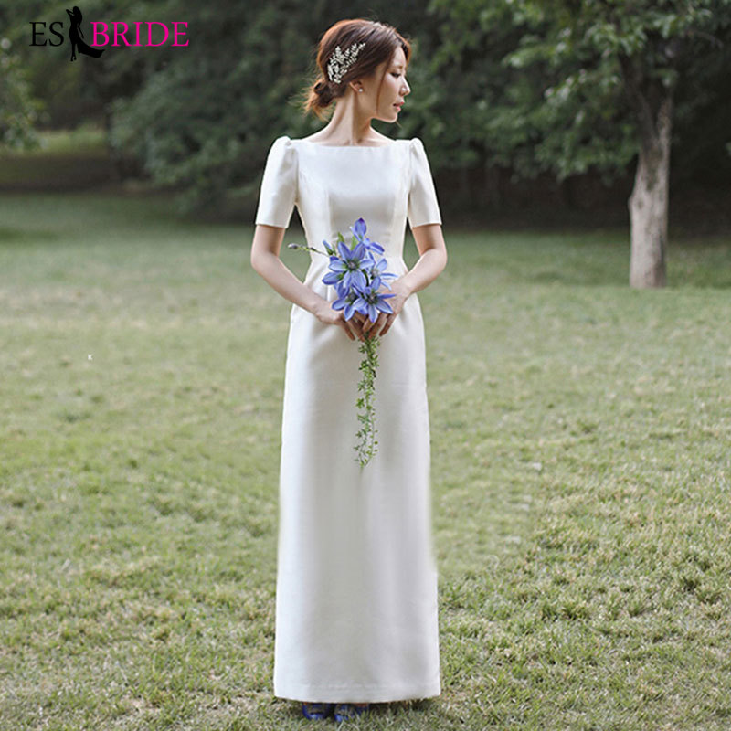 Light Wedding Satin Simple 2019 New Mori Hebenqi Short-sleeved Dress