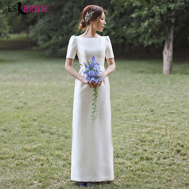 Light Wedding Satin Simple 2019 New Mori Hebenqi Short-sleeved Dress
