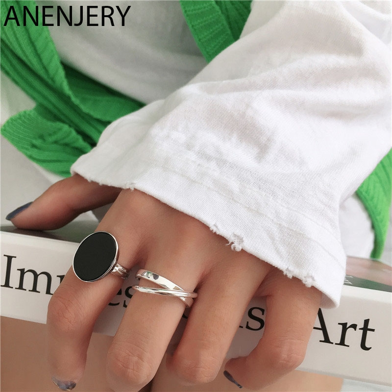 ANENJERY Simple Fashion Black Drop Glaze Oval Shaped Silver Color Open Ring For Women Party Jewelry Gifts S-R696